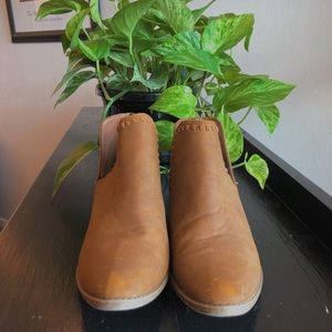 tan cut out ankle booties